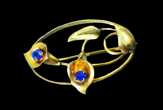 Calla flower 12 gold filled, faux sapphires. 1920s