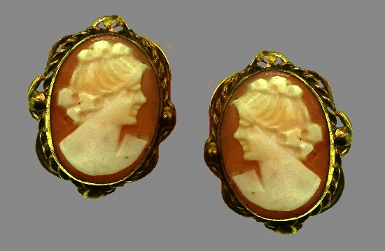 Cameo earrings. 12 K gold filled, carved shell. 1950s
