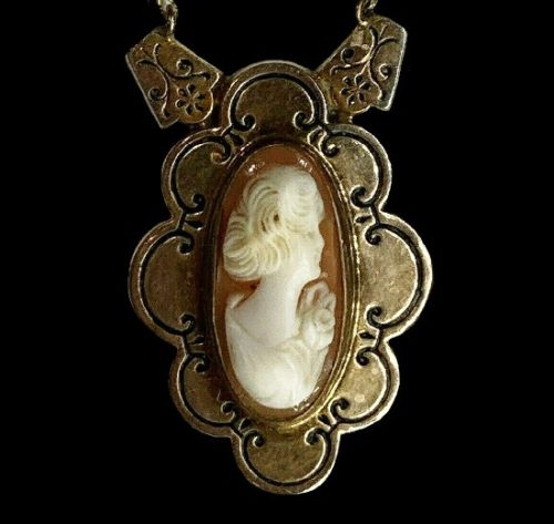 Carved shell cameo pendant. Bronze tone, 12 K gold filled, enamel, faux jade