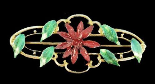 Chrysanthemum brooch. Sterling silver, enamel. 1930s