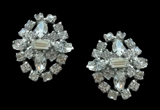 Clear rhinestone cluster earrings. 1960s