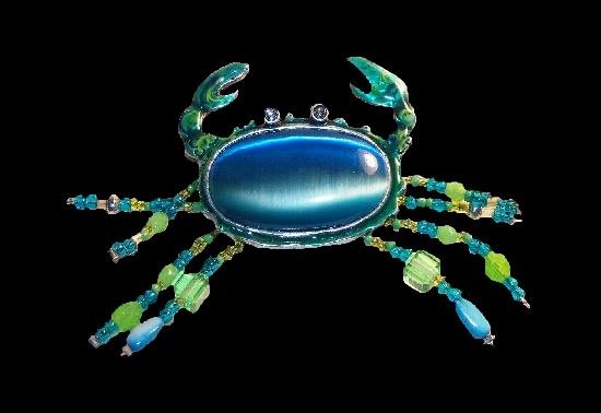Crab brooch. Tiger's Eye cabochon, rhinestones, turquoise beads, blue enamel