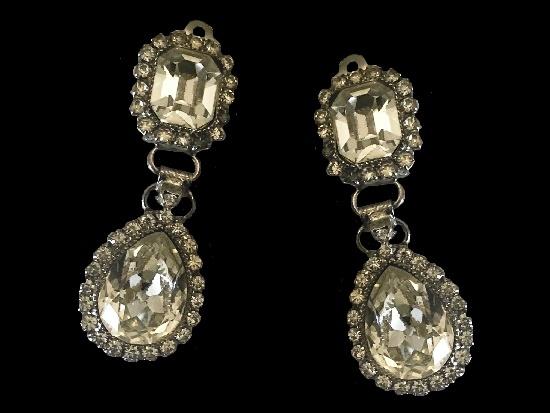 Crystal Drop Earrings. Silver tone metal, crystals. 1970s