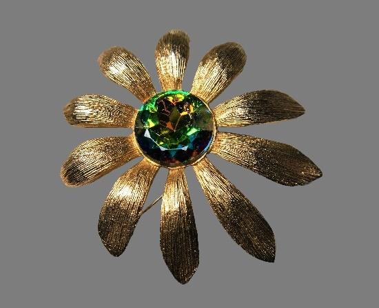 Daisy brooch. Textured vermeil petals, Aurora borealis rhinestone