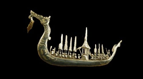 Dragon Boat brooch. Sterling silver