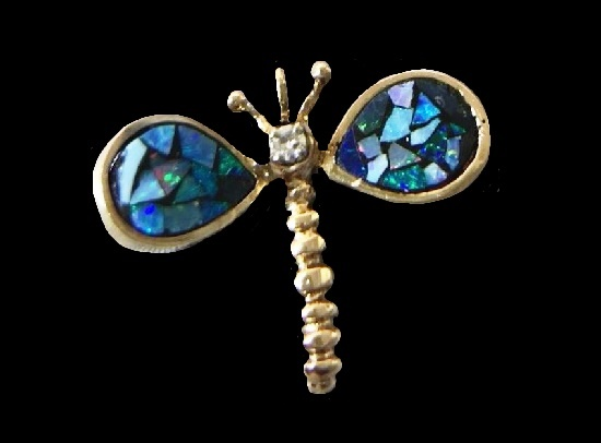 Dragonfly brooch pendant. 14k yellow gold, diamond, opal