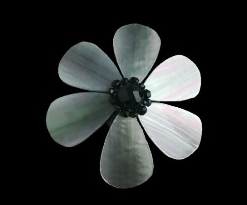 Emporium Iridescent Flower Pin Brooch Black Rhinestones