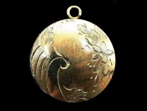 Engraved Floral locket, 12 K gold filled
