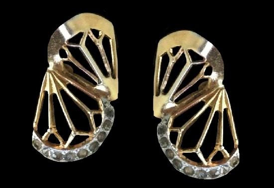 Fan clip on earrings of gold tone, rhinestones. Jeray signed