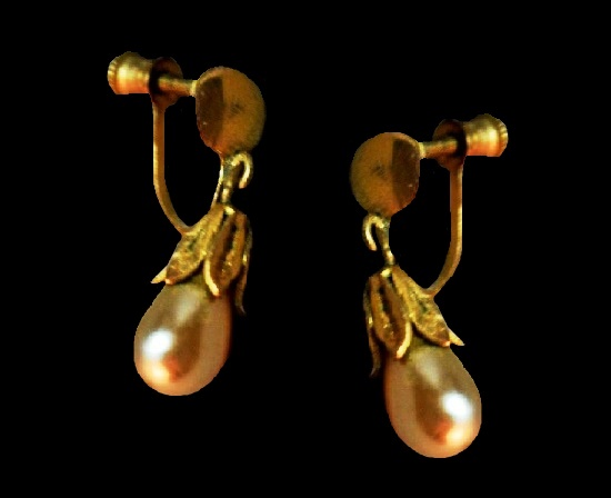 Faux pearl drop earrings. Gold filled