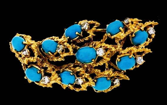 Flame design brooch pendant. 18K Gold, turquoise, diamond