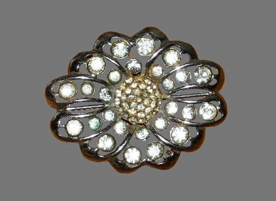 Floral design brooch. Sterling silver, pave rhinestones