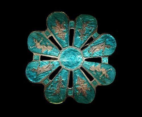 Flower brooch. Sterling silver, blue enamel
