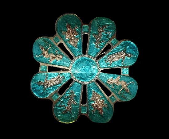 Flower brooch. Sterling silver, blue enamel