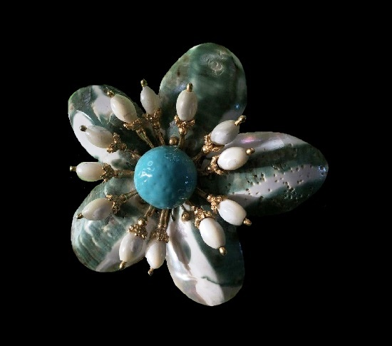 Flower brooch. Turquoise, shell, sterling