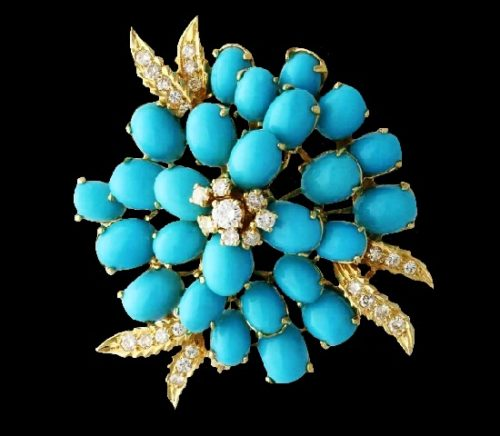 Flower design brooch. Turquoise, Yellow Gold, diamonds. 1960s