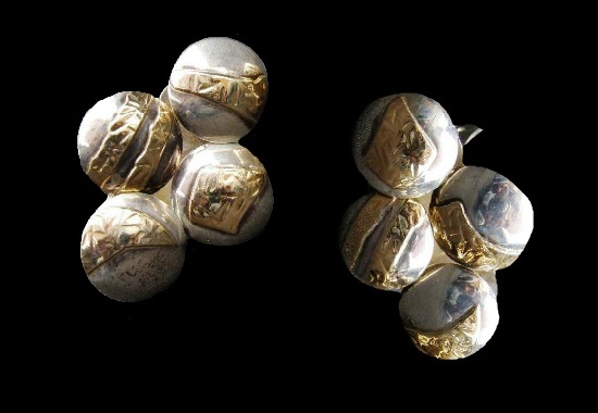 Four ball shaped gold plated sterling silver earrings. 1970s