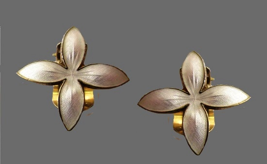 Four petal flower earrings. Sterling silver, white enamel