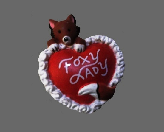 Foxy lady vintage brooch pin