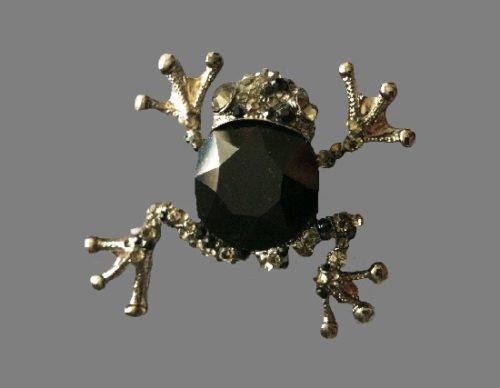 Frog brooch. Jewelry alloy, rhinestones
