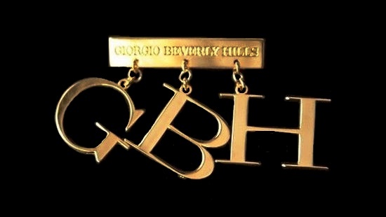 GBH drop letters brooch pin of gold tone