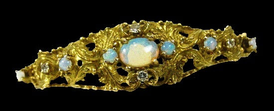 Filigree Cuff bracelet. 14k gold, opal, diamond