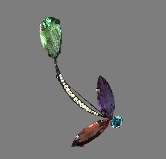 Glass Flower brooch. Metal alloy, rhinestones, crystals
