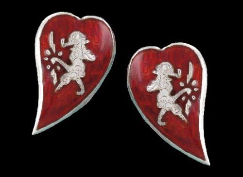 Goddess of Love heart shaped clip on earrings. Sterling silver, red enamel