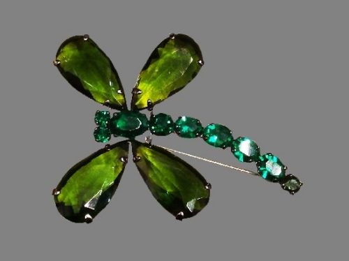 Green dragonfly brooch. Jewelry alloy, crystals, art glass. 9 cm. 1990s