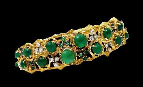 Green emerald, diamond and 12 K gold bracelet