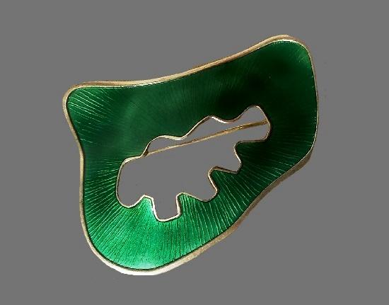 Green enamel sterling silver brooch