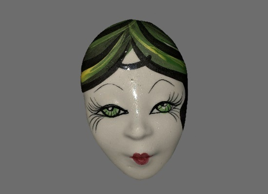 Handpainted Porcelain Face Brooch. 1960s
