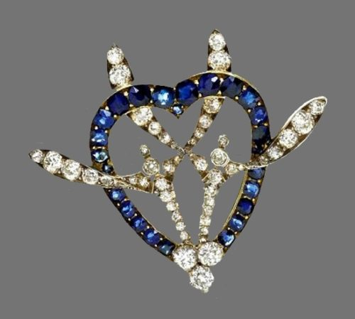 Heart Brooch with a branch of mistletoe. Gold, sapphires, diamonds 1900