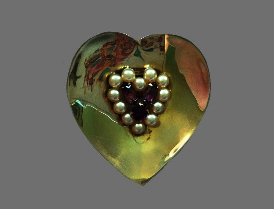 Heart shaped brooch. Sterling silver, gold filled, faux pearls, rhinestones