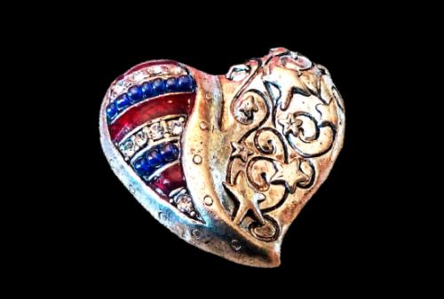 Independence Day Patriotic heart brooch. Silver tone textured metal, enamel, rhinestones, beads