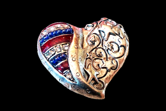 Independence Day Patriotic heart brooch. Silver tone textured metal, enamel, rhinestones, beads