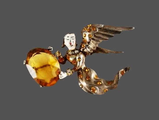 Angel brooch. Silver tone, enamel, rhinestones, glass cabochon