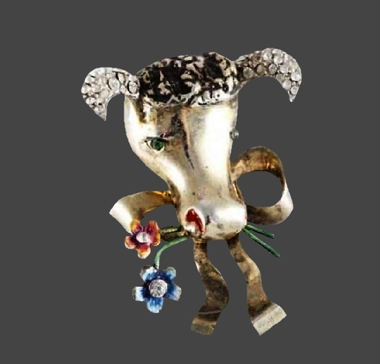 Cow with bow brooch. Silver tone, rhinestones