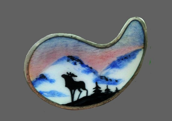 Landscape with mountains and deer silver enameled handpainted brooch