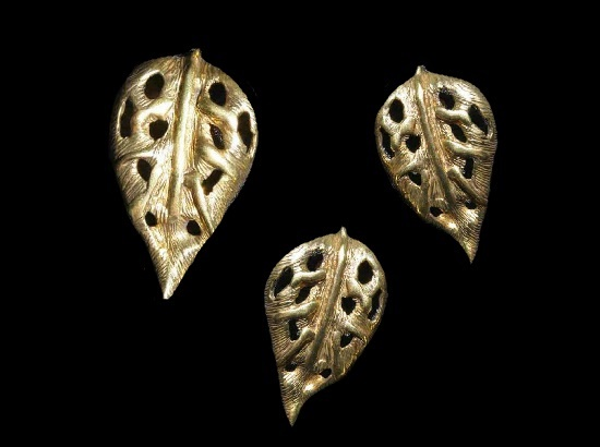 Leaf brooch and earrings. Textured sterling silver. 1970s