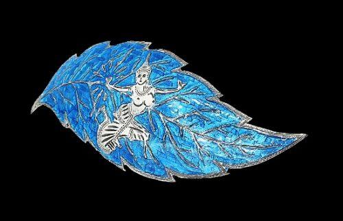 Leaf brooch. Sterling silver, blue enamel