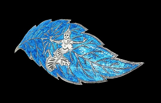 Leaf brooch. Sterling silver, blue enamel