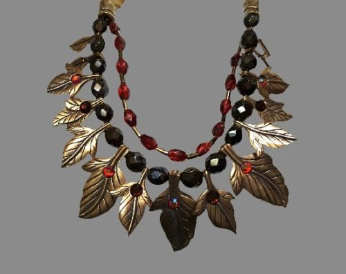 Leaf necklace. Bronze tone alloy, glass beads, crystals. 1980s