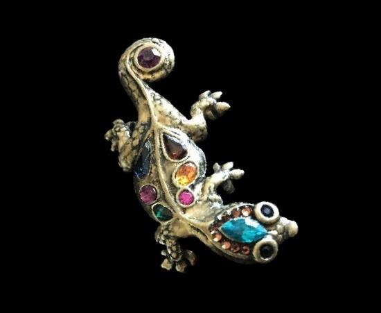 Lizard brooch. Bronze tone metal, rhinestones