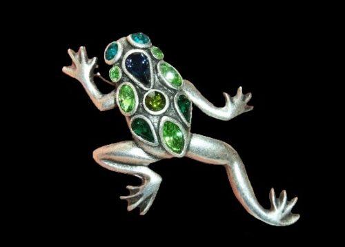 Lucky frog pin brooch. Silver tone metal, rhinestones