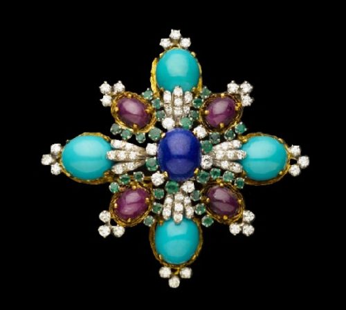 Maltese cross brooch pendant. Lapis, ruby, diamond, turquoise, emerald, circa 1960's