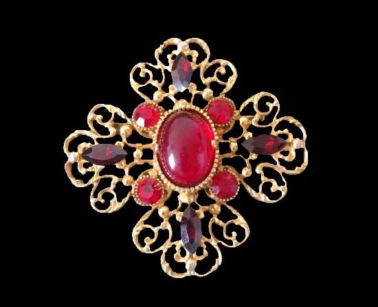 Maltese cross brooch. Gold tone alloy, gold filled, glass. 10 cm. 1970s