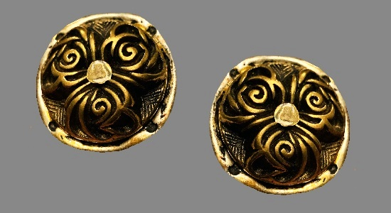 Massive runway floral design earrings. Gold tone textured metal