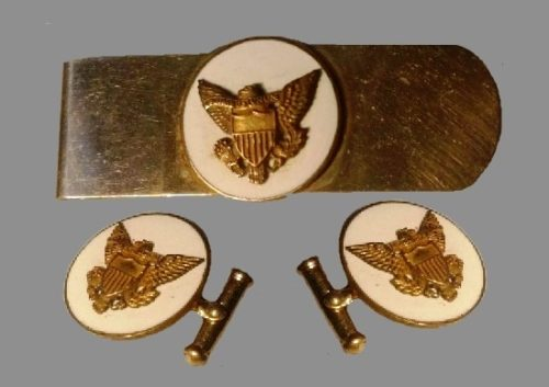 Military tie clip and cufflinks. Porcelain, 10 K gold filled