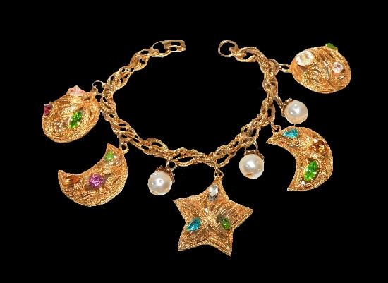 Moon and star charms bracelet. Gold tone alloy, rhinestones, faux pearls
